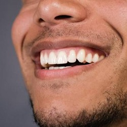 Close-up of man's smile