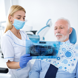 hygienist explaining treatment